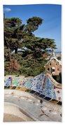 Serpentine Bench In Park Gueli In Barcelona Beach Sheet