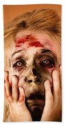 Shocked Horror Halloween Zombie With Hands Face Beach Towel
