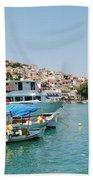 Skopelos Harbour Greece Beach Towel