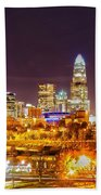 Skyline Of Uptown Charlotte North Carolina At Night Beach Towel