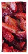 Sliced Strawberries Beach Towel