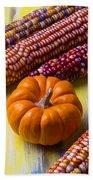 Small Pumpkin And Indian Corn Beach Sheet
