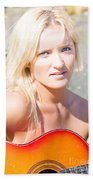 Smiling Female Guitarist Beach Sheet