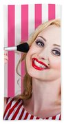 Smiling Makeup Girl Using Cosmetic Powder Brush Beach Towel