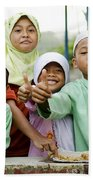 Smiling Muslim Children In Bali Indonesia Beach Towel