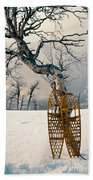 Snowshoes Leaning Against Birch Tree Snowscape Beach Towel