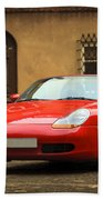 Sport Car In The Old Town Scenery Beach Towel