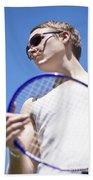 Sporting A Racquet Beach Towel