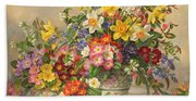 Spring Flowers And Poole Pottery Beach Sheet