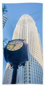 Standing By The Clock On City Intersection At Charlotte Downtown Beach Towel
