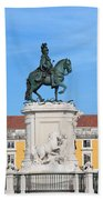 Statue Of King Jose I In Lisbon Beach Sheet