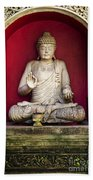 Stone Statue Of Buddha In Bali Indonesia Beach Towel