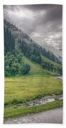 storm clouds over mountains of ladakh Jammu and Kashmir India Beach Towel