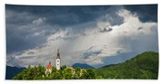 Storm Light Over Lake Bled Beach Towel