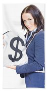 Successful Business Woman Holding Bags Of Money Beach Towel