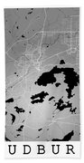 Sudbury Street Map - Sudbury Canada Road Map Art On Colored Back Beach Towel