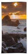 Sun Sets On Patrick's Point Beach Towel
