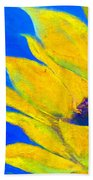 Sunflower In Blue Beach Towel
