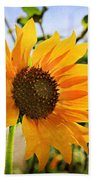 Sunflower With Texture Beach Towel