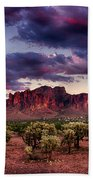 Sunset At The Superstitions  Beach Towel