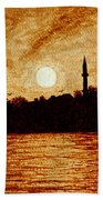 Sunset Over Istanbul Original Coffee Painting Beach Sheet