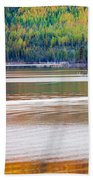Sunset Reflections On Boreal Forest Lake In Yukon Beach Towel