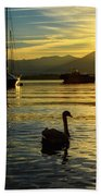 Swans In Sunset Beach Towel