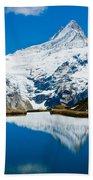 Swiss Alps - Schreckhorn Reflection  Beach Towel