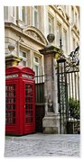 Telephone Box In London Beach Towel by Elena Elisseeva