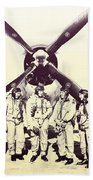Test Pilots With P-47 Thunderbolt Fighter Beach Towel