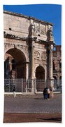 The Arch Of Constantine And Colosseum Beach Towel