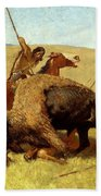 The Buffalo Hunt Beach Towel by Frederic Remington