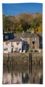 The Inner Harbour At Padstow Beach Towel