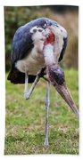 The Marabou Stork In Tanzania. Africa Beach Towel