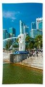 The Merlion  Fountain - Singapore Beach Towel