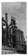 The Steel Mill In Black And White Beach Towel