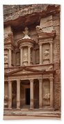 the treasury Nabataean ancient town Petra Beach Towel