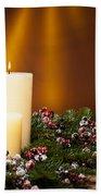 Three Candles In An Advent Flower Arrangement Beach Towel