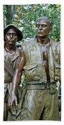 Three Soldiers Statue Beach Towel