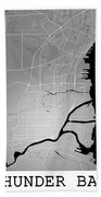 Thunder Bay Street Map - Thunder Bay Canada Road Map Art On Colo Beach Towel