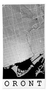 Toronto Street Map - Toronto Canada Road Map Art On Colored Back Beach Towel