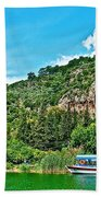 Tourboat Stops By Ancient Tombs In Daylan-turkey  Beach Towel
