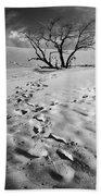 Tree Branch And Footprints On Sleeping Bear Dunes Beach Towel