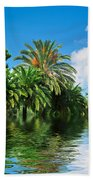 Tropical Exotic Jungle And Water Beach Towel