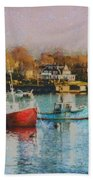 Two Lobster Boats On Marblehead Harbor With A Red Sky Beach Towel
