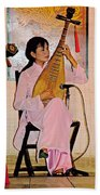 Two-stringed Lute Player At Wedding Ceremony Show In Binh Quoi Village-vietnam  Beach Towel