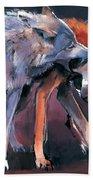 Two Wolves Beach Towel by Mark Adlington