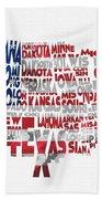 United States Typographic Map Flag Beach Towel