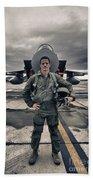 U.s. Air Force Pilot Standing In Front Beach Towel