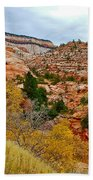 View Along East Side Of Zion-mount Carmel Highway In Zion National Park-utah   Beach Towel